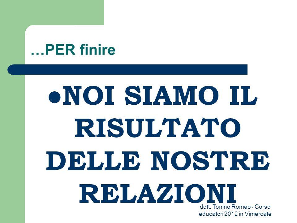 …PER finire NOI SIAMO IL RISULTATO DELLE NOSTRE RELAZIONI dott. Tonino Romeo - Corso educatori 2012 in Vimercate