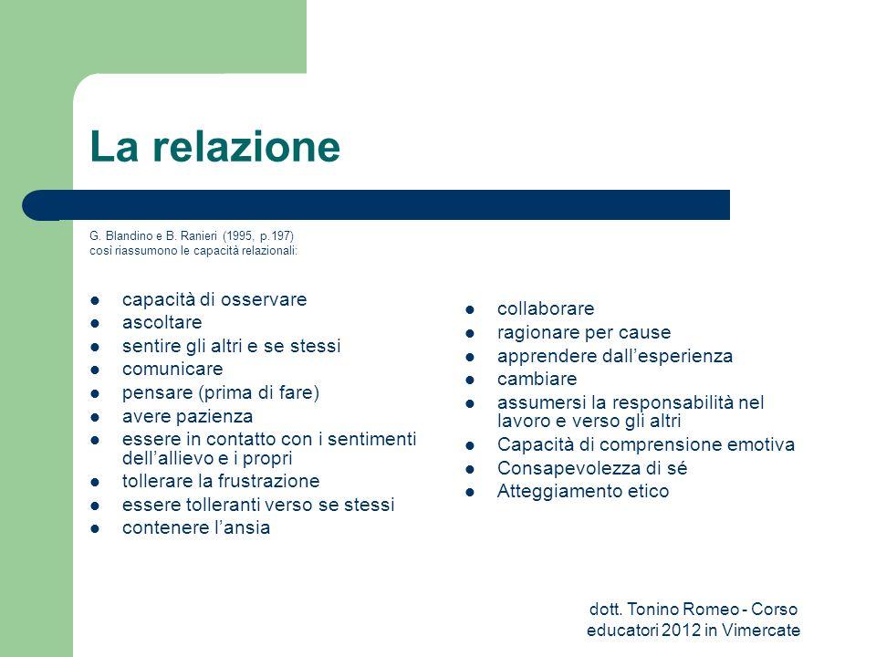 La relazione G. Blandino e B. Ranieri (1995, p.197) così riassumono le capacità relazionali: capacità di osservare ascoltare sentire gli altri e se st