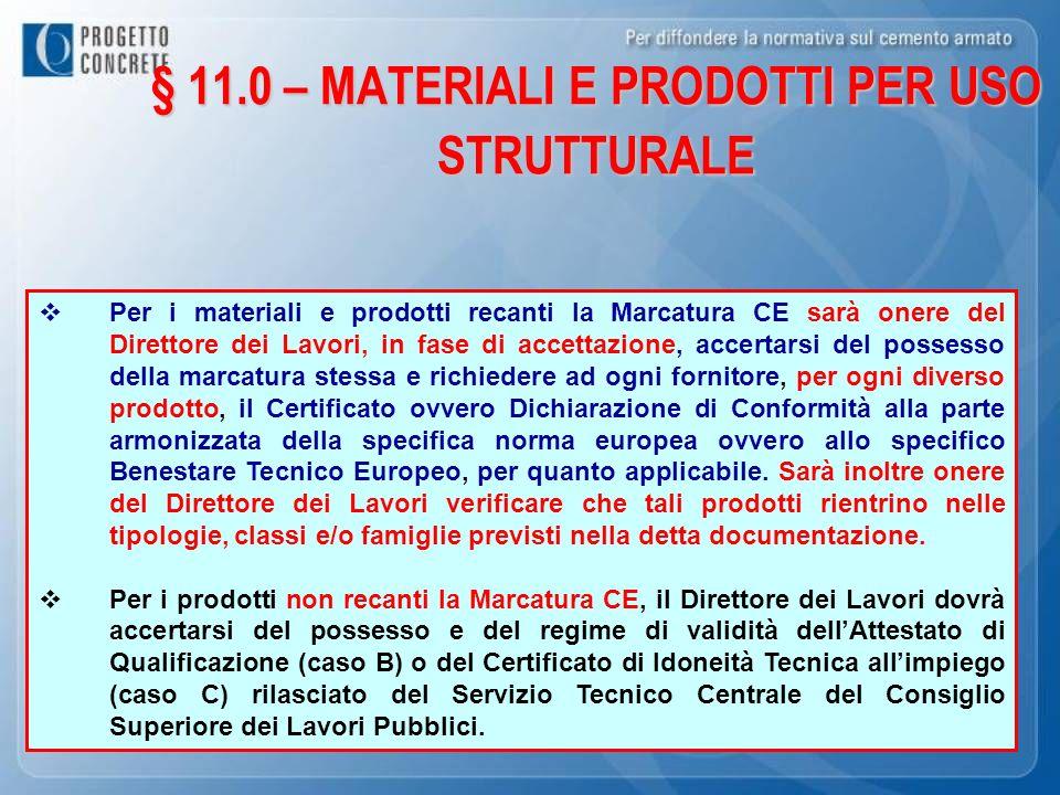 ……..il Direttore Lavori…………………. § 11.0 – MATERIALI E PRODOTTI PER USO STRUTTURALE Per i materiali e prodotti recanti la Marcatura CE sarà onere del Di