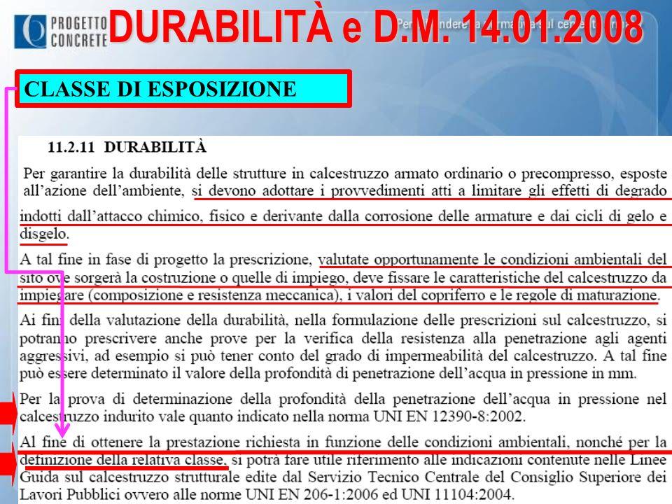 DURABILITÀ e D.M. 14.01.2008 CLASSE DI ESPOSIZIONE