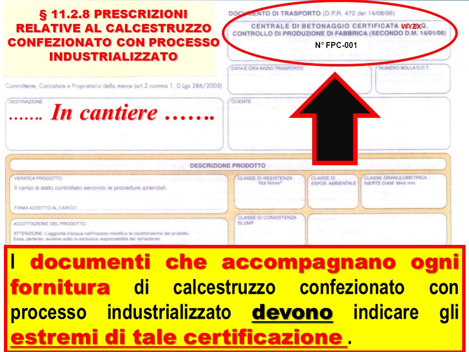 § 11.2.8 PRESCRIZIONI RELATIVE AL CALCESTRUZZO CONFEZIONATO CON PROCESSO INDUSTRIALIZZATO § 11.2.8 PRESCRIZIONI RELATIVE AL CALCESTRUZZO CONFEZIONATO