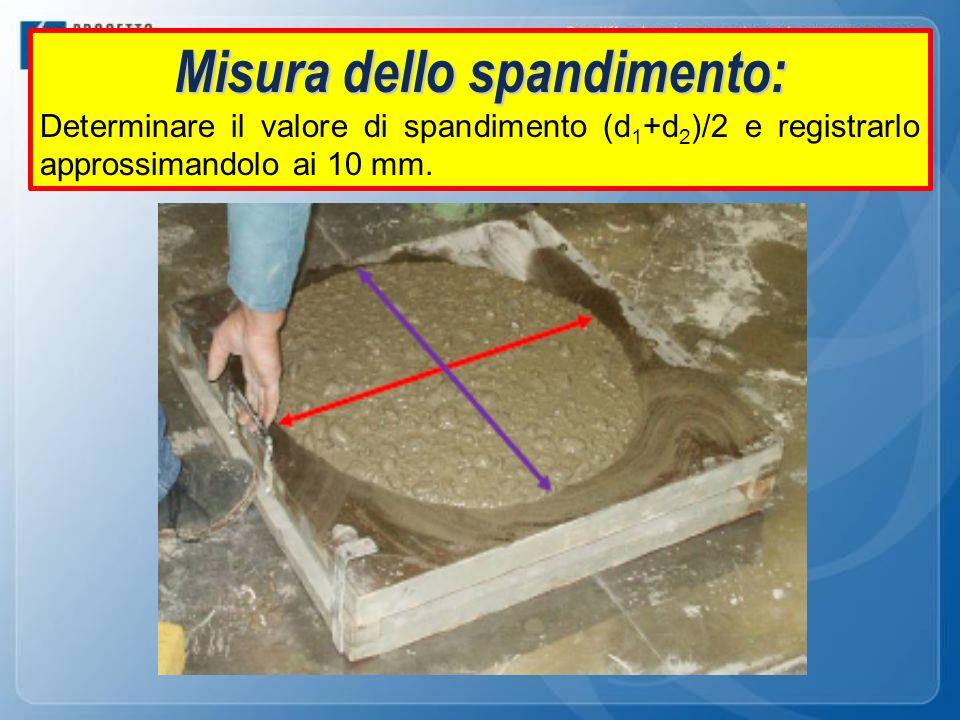 Misura dello spandimento: Determinare il valore di spandimento (d 1 +d 2 )/2 e registrarlo approssimandolo ai 10 mm.