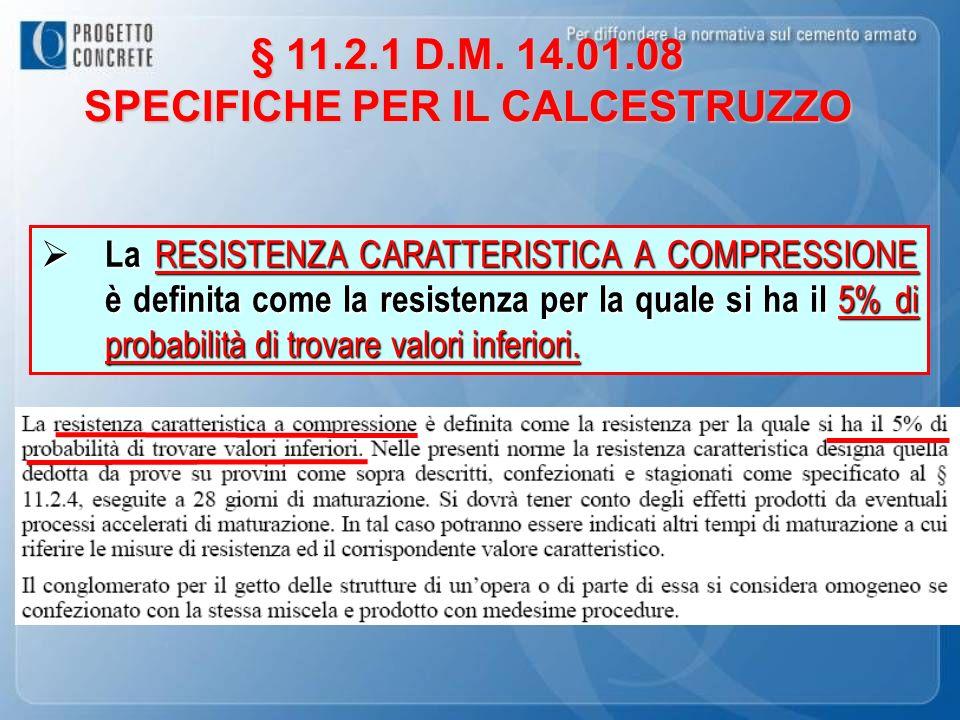 § 11.2.1 D.M. 14.01.08 SPECIFICHE PER IL CALCESTRUZZO La RESISTENZA CARATTERISTICA A COMPRESSIONE è definita come la resistenza per la quale si ha il