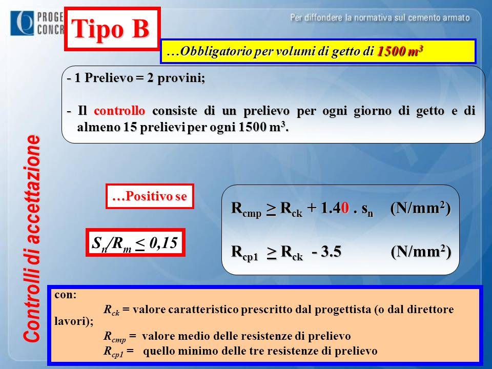 R cmp > R ck + 1.40. s n (N/mm 2 ) R cp1 > R ck - 3.5 (N/mm 2 ) Controlli di accettazione - 1 Prelievo = 2 provini; - Il controllo consiste di un prel