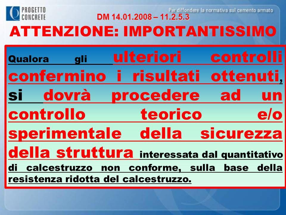 DM 14.01.2008 – 11.2.5.3 DM 14.01.2008 – 11.2.5.3 ATTENZIONE: IMPORTANTISSIMO Qualora gli ulteriori controlli confermino i risultati ottenuti, si dovr