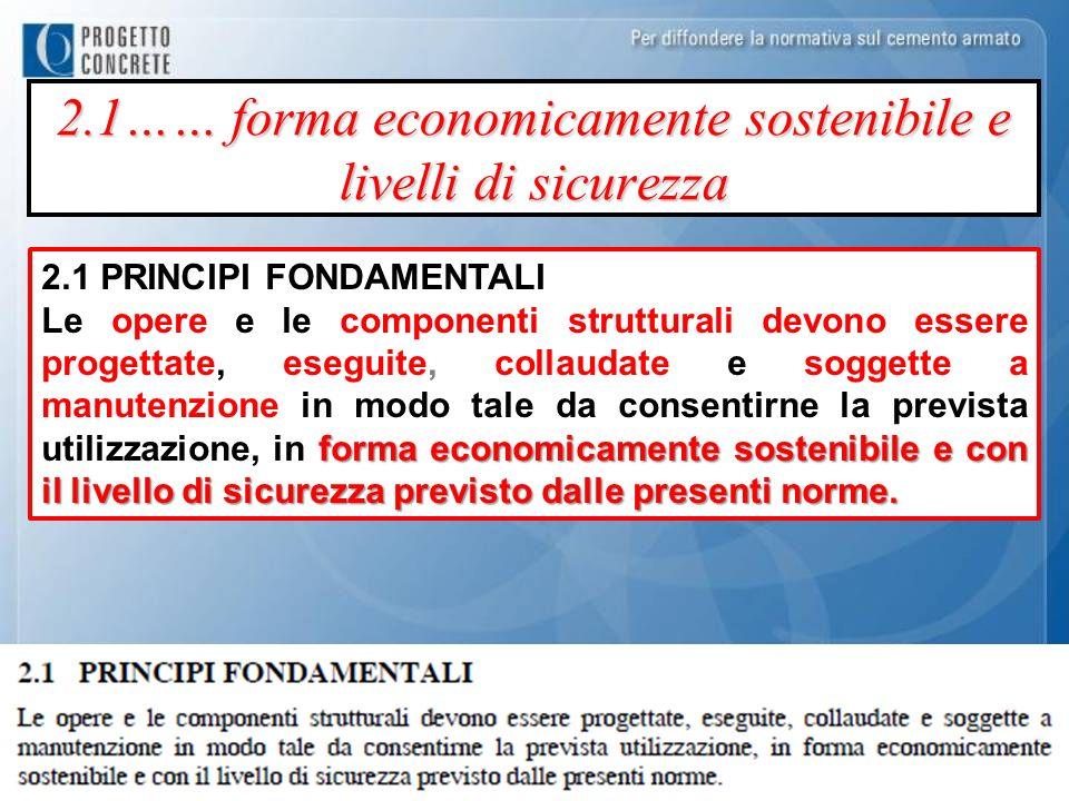 2.1…… forma economicamente sostenibile e livelli di sicurezza 2.1 PRINCIPI FONDAMENTALI forma economicamente sostenibile e con il livello di sicurezza