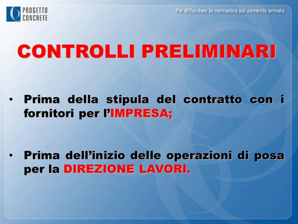 CONTROLLI PRELIMINARI Prima della stipula del contratto con i fornitori per lIMPRESA; Prima della stipula del contratto con i fornitori per lIMPRESA;