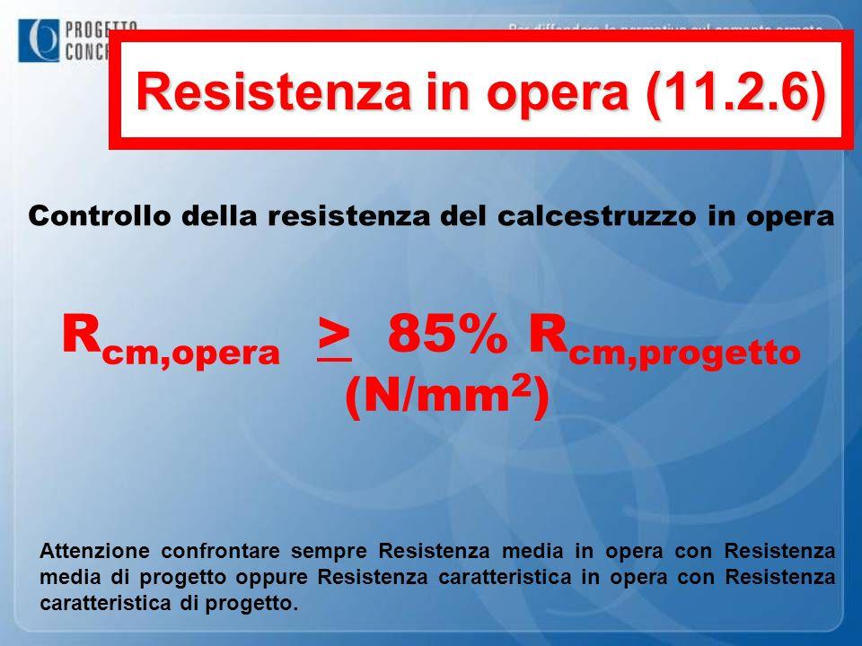 Resistenza in opera (11.2.6) Controllo della resistenza del calcestruzzo in opera R cm,opera > 85% R cm,progetto (N/mm 2 ) Attenzione confrontare semp
