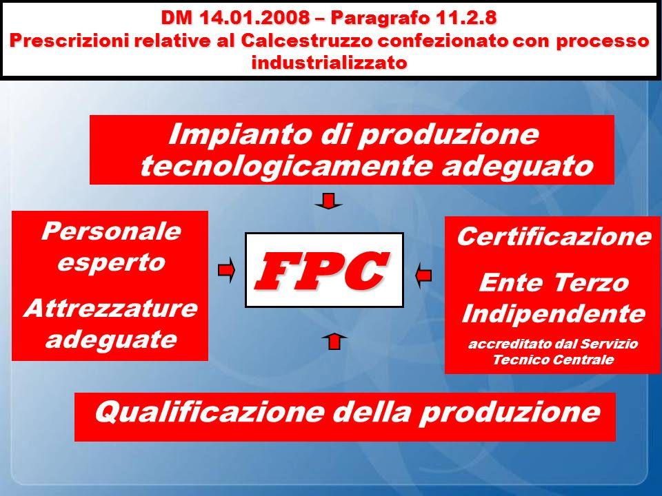 DM 14.01.2008 – Paragrafo 11.2.8 Prescrizioni relative al Calcestruzzo confezionato con processo industrializzato Personale esperto Attrezzature adegu