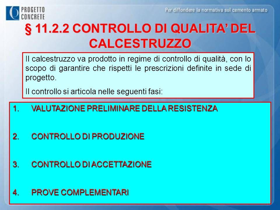 § 11.2.2 CONTROLLO DI QUALITA DEL CALCESTRUZZO 1.VALUTAZIONE PRELIMINARE DELLA RESISTENZA 2.CONTROLLO DI PRODUZIONE 3.CONTROLLO DI ACCETTAZIONE 4.PROV