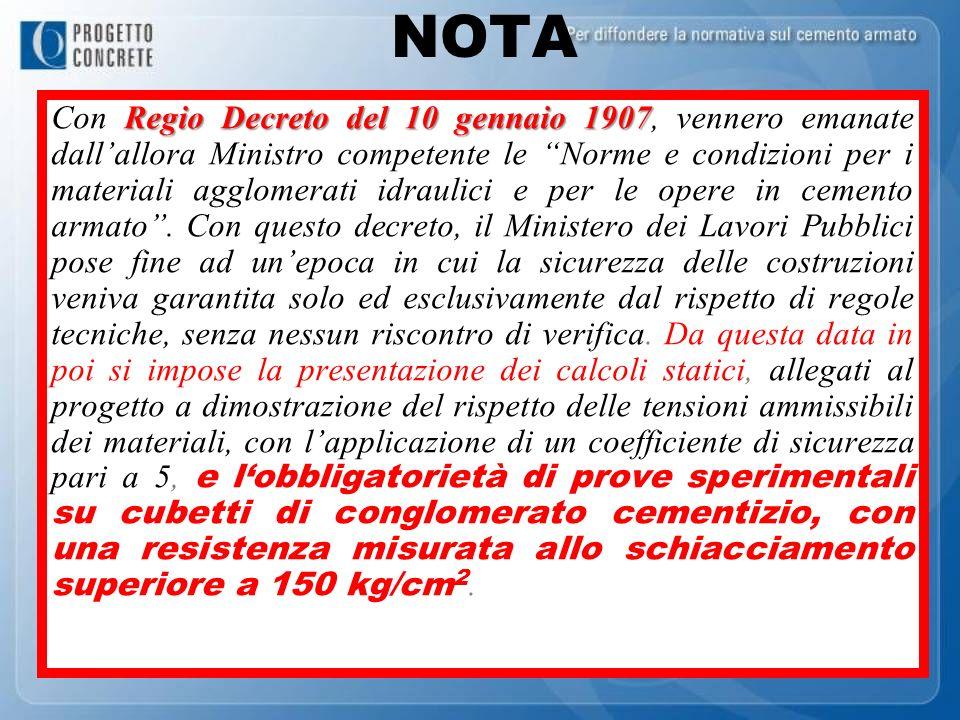 NOTA Regio Decreto del 10 gennaio 1907 Con Regio Decreto del 10 gennaio 1907, vennero emanate dallallora Ministro competente le Norme e condizioni per