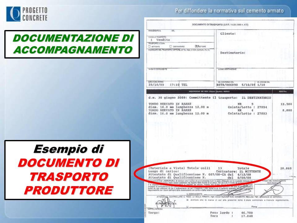 Esempio di DOCUMENTO DI TRASPORTO PRODUTTORE DOCUMENTAZIONE DI ACCOMPAGNAMENTO