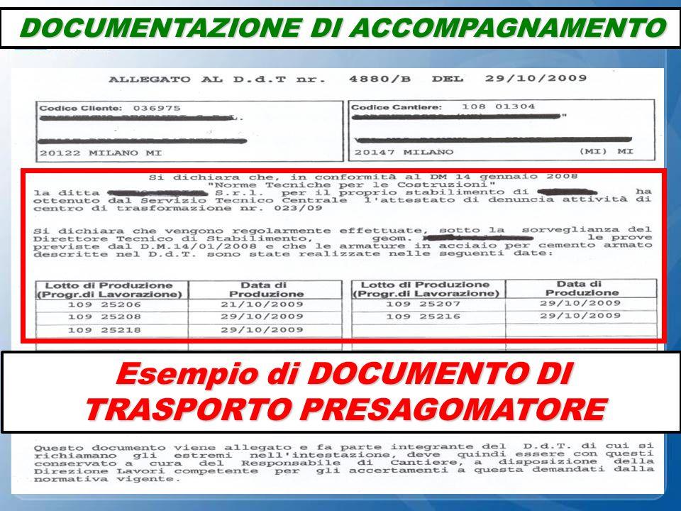 Esempio di DOCUMENTO DI TRASPORTO PRESAGOMATORE DOCUMENTAZIONE DI ACCOMPAGNAMENTO