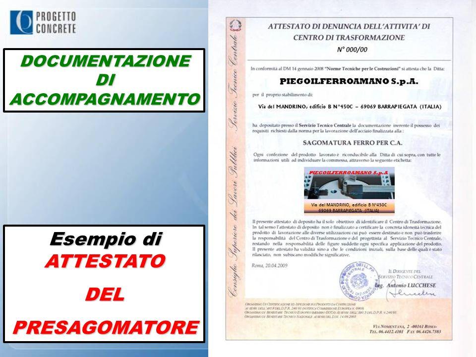 Esempio di ATTESTATO DELPRESAGOMATORE DOCUMENTAZIONE DI ACCOMPAGNAMENTO
