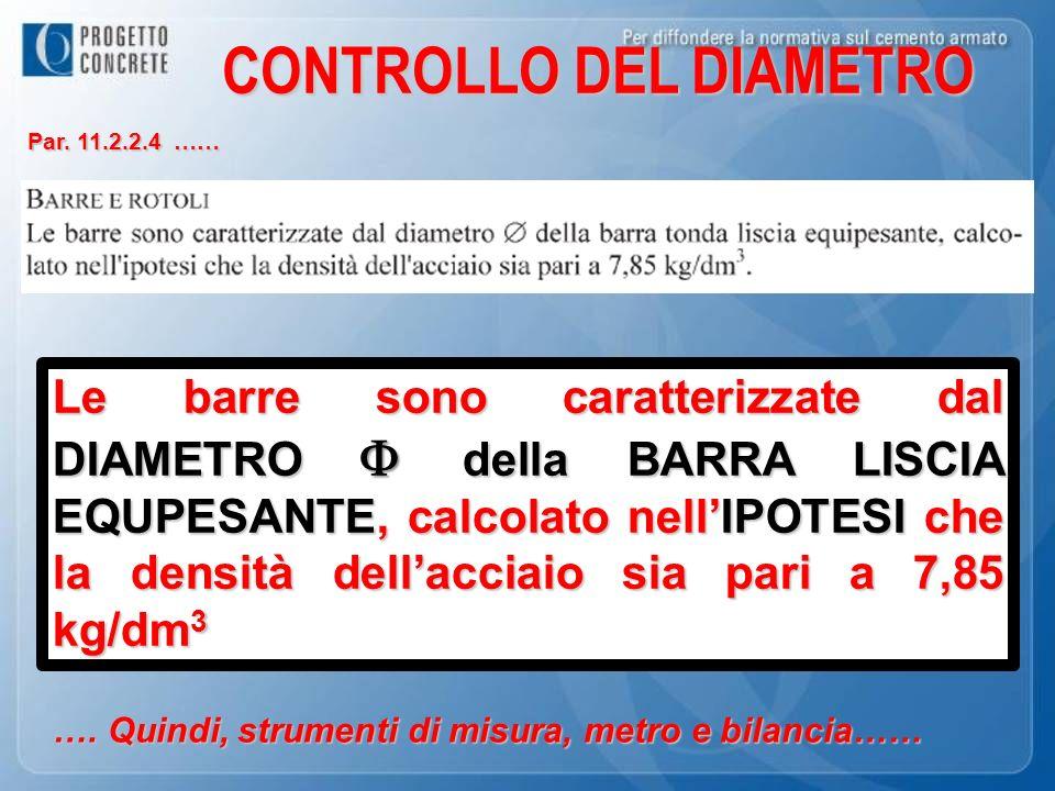 CONTROLLO DEL DIAMETRO Par. 11.2.2.4 …… Le barre sono caratterizzate dal DIAMETRO della BARRA LISCIA EQUPESANTE, calcolato nellIPOTESI che la densità