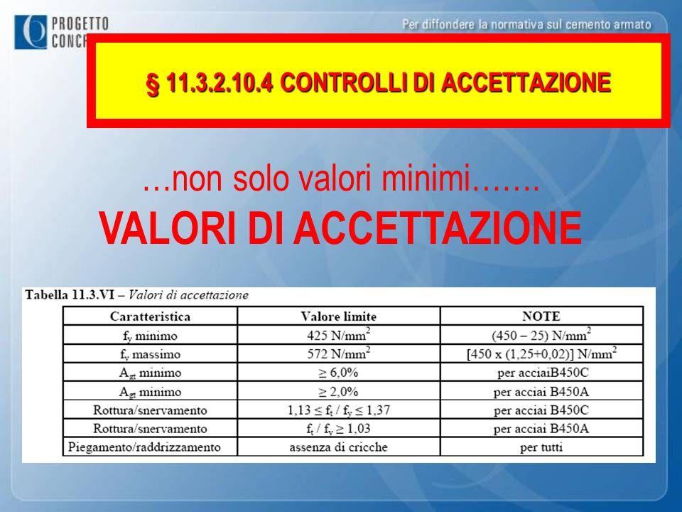 …non solo valori minimi……. VALORI DI ACCETTAZIONE § 11.3.2.10.4 CONTROLLI DI ACCETTAZIONE