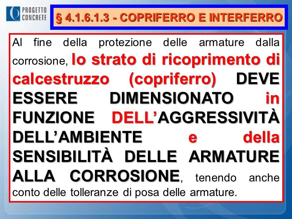 § 4.1.6.1.3 - COPRIFERRO E INTERFERRO lo strato di ricoprimento di calcestruzzo (copriferro) DEVE ESSERE DIMENSIONATO in FUNZIONE DELLAGGRESSIVITÀ DEL