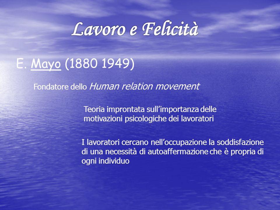 E. Mayo (1880 1949) Fondatore dello Human relation movement Teoria improntata sullimportanza delle motivazioni psicologiche dei lavoratori I lavorator