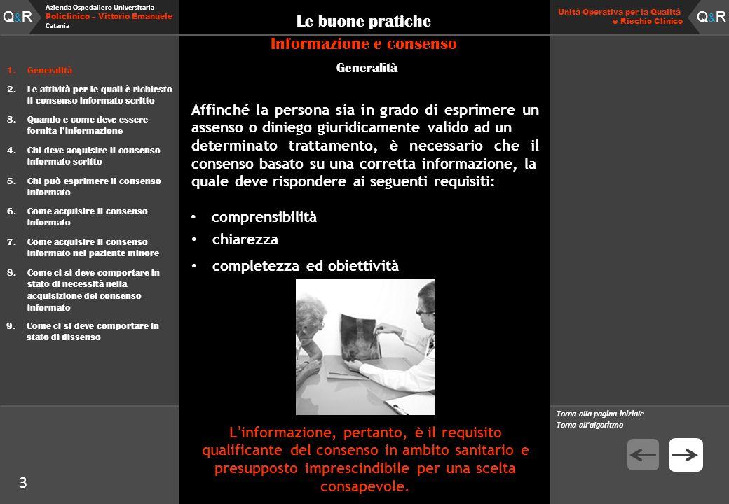 Q&RQ&R Azienda Ospedaliero-Universitaria Policlinico – Vittorio Emanuele Catania Q&RQ&R Unità Operativa per la Qualità e Rischio Clinico 2 Le buone pratiche 1.