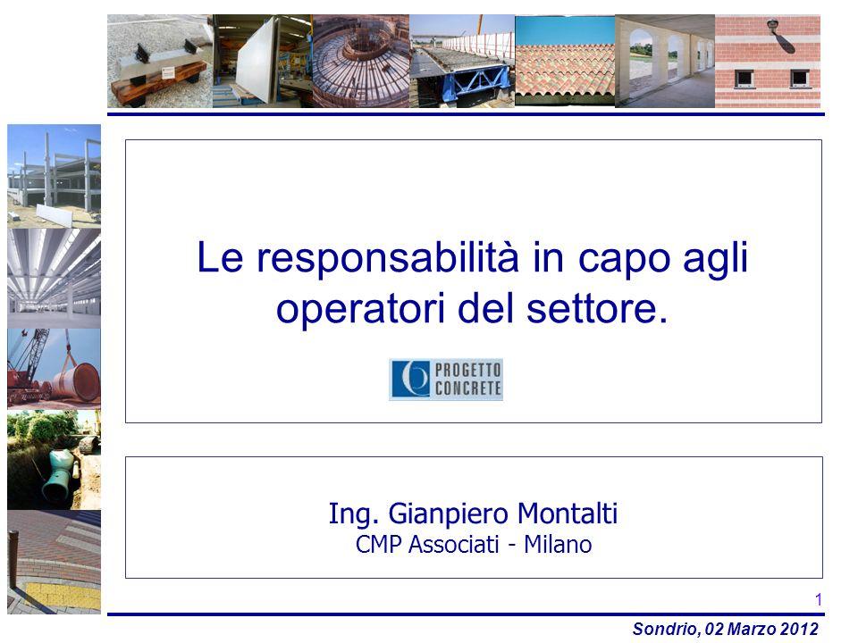 Sondrio, 02 Marzo 2012 Le responsabilità in capo agli operatori del settore. Ing. Gianpiero Montalti CMP Associati - Milano 1