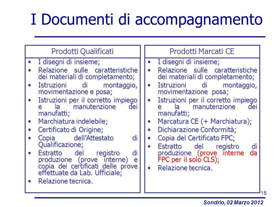 Sondrio, 02 Marzo 2012 I Documenti di accompagnamento I disegni di insieme;I disegni di insieme; Relazione sulle caratteristiche dei materiali di comp