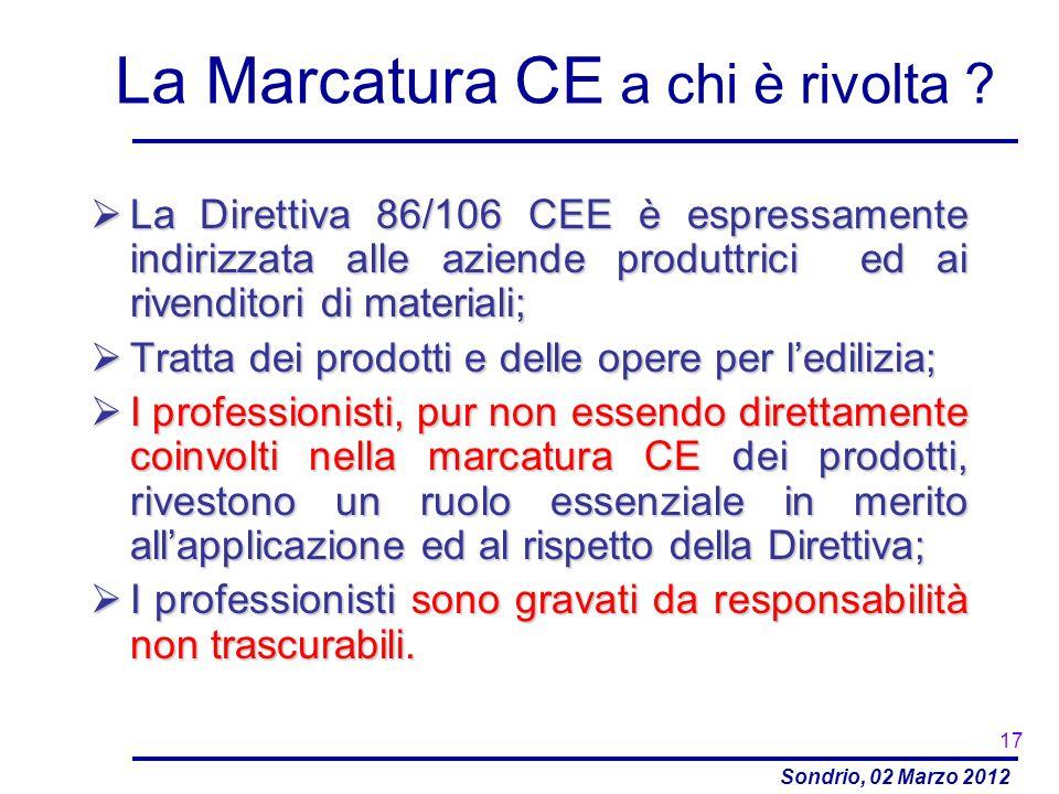 Sondrio, 02 Marzo 2012 La Marcatura CE a chi è rivolta ? La Direttiva 86/106 CEE è espressamente indirizzata alle aziende produttrici ed ai rivenditor