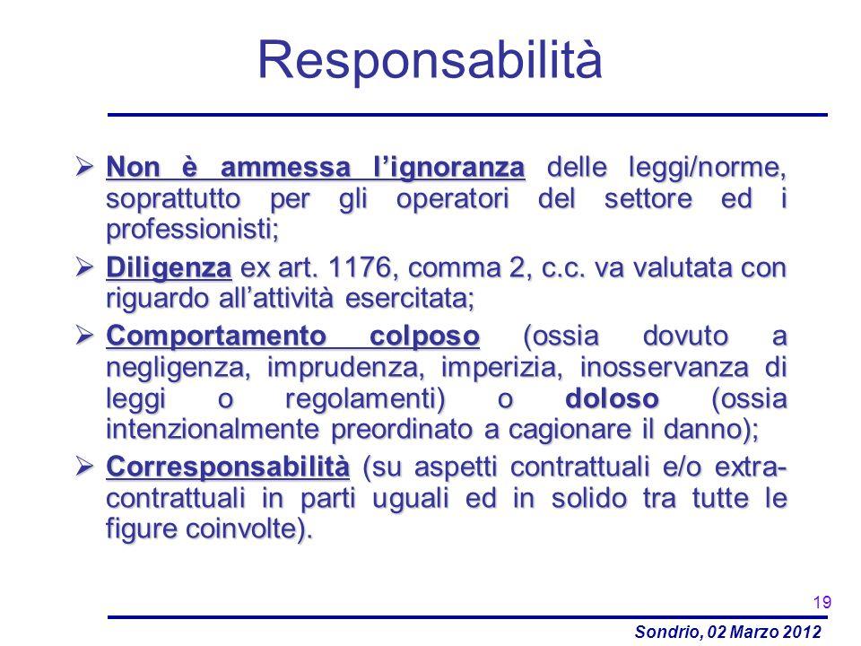 Sondrio, 02 Marzo 2012 Responsabilità Non è ammessa lignoranza delle leggi/norme, soprattutto per gli operatori del settore ed i professionisti; Non è
