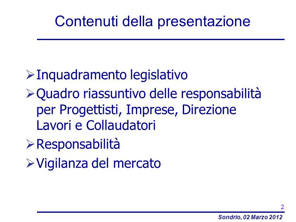 Sondrio, 02 Marzo 2012 Contenuti della presentazione Inquadramento legislativo Quadro riassuntivo delle responsabilità per Progettisti, Imprese, Direz