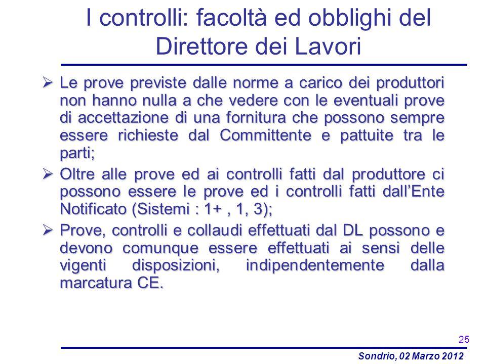 Sondrio, 02 Marzo 2012 I controlli: facoltà ed obblighi del Direttore dei Lavori Le prove previste dalle norme a carico dei produttori non hanno nulla
