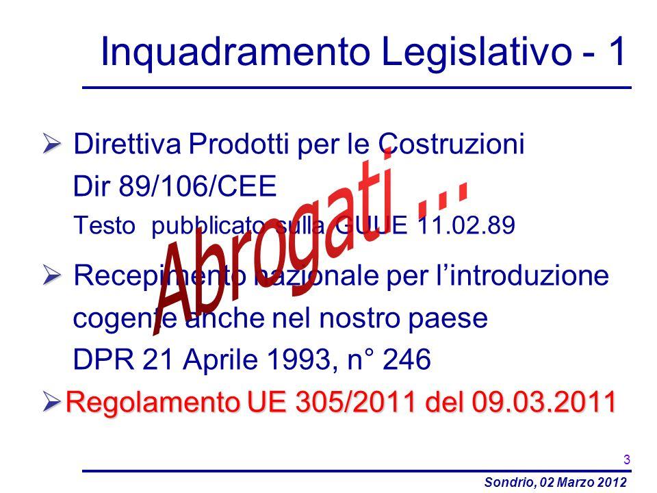 Sondrio, 02 Marzo 2012 Inquadramento Legislativo - 1 Direttiva Prodotti per le Costruzioni Dir 89/106/CEE Testo pubblicato sulla GUUE 11.02.89 Recepim