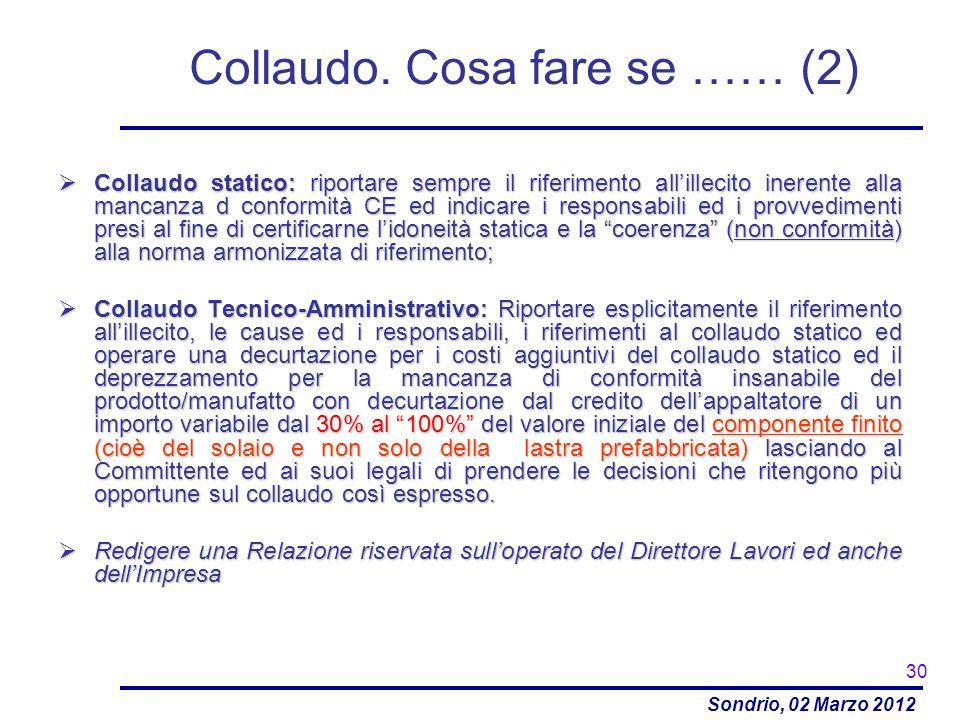 Sondrio, 02 Marzo 2012 Collaudo statico: riportare sempre il riferimento allillecito inerente alla mancanza d conformità CE ed indicare i responsabili