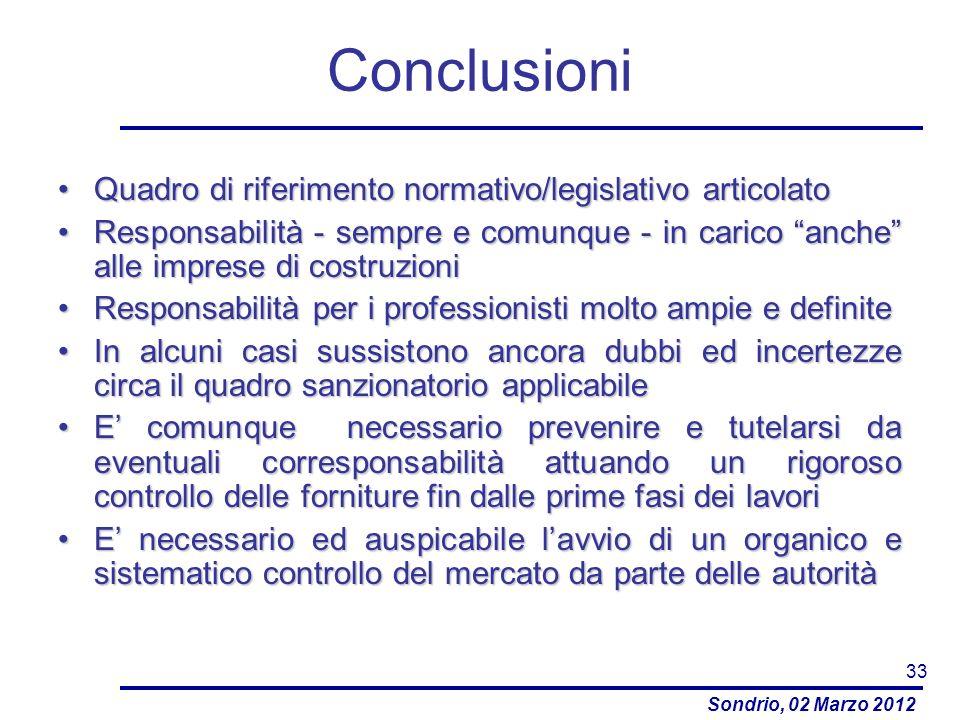 Sondrio, 02 Marzo 2012 Conclusioni Quadro di riferimento normativo/legislativo articolatoQuadro di riferimento normativo/legislativo articolato Respon
