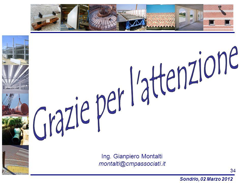 Sondrio, 02 Marzo 2012 34 Ing. Gianpiero Montalti montalti@cmpassociati.it