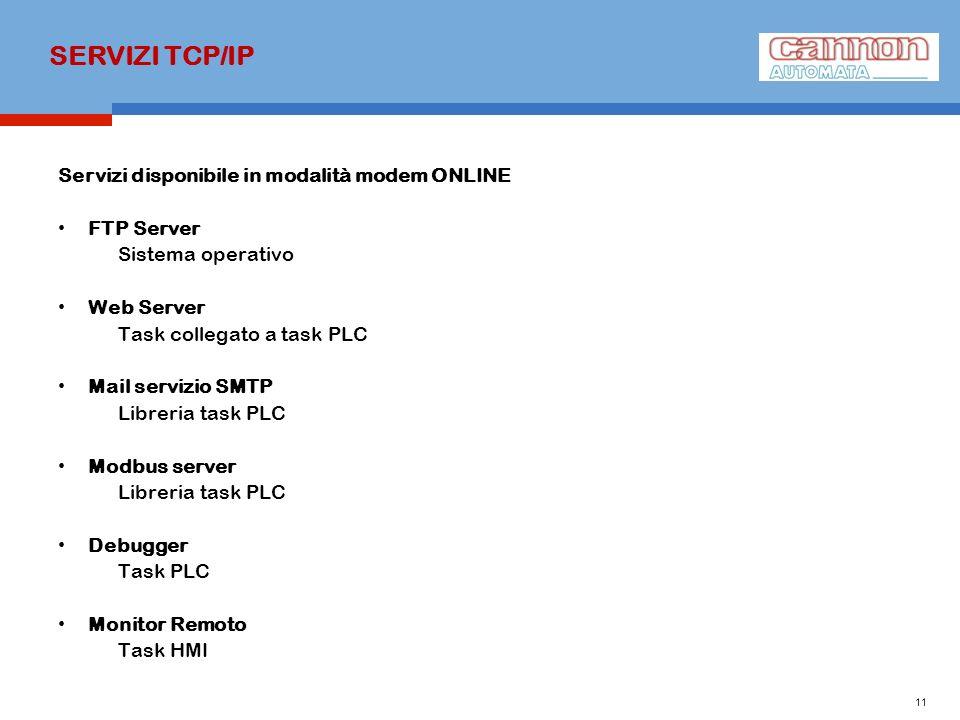 SERVIZI TCP/IP Servizi disponibile in modalità modem ONLINE FTP Server Sistema operativo Web Server Task collegato a task PLC Mail servizio SMTP Libre