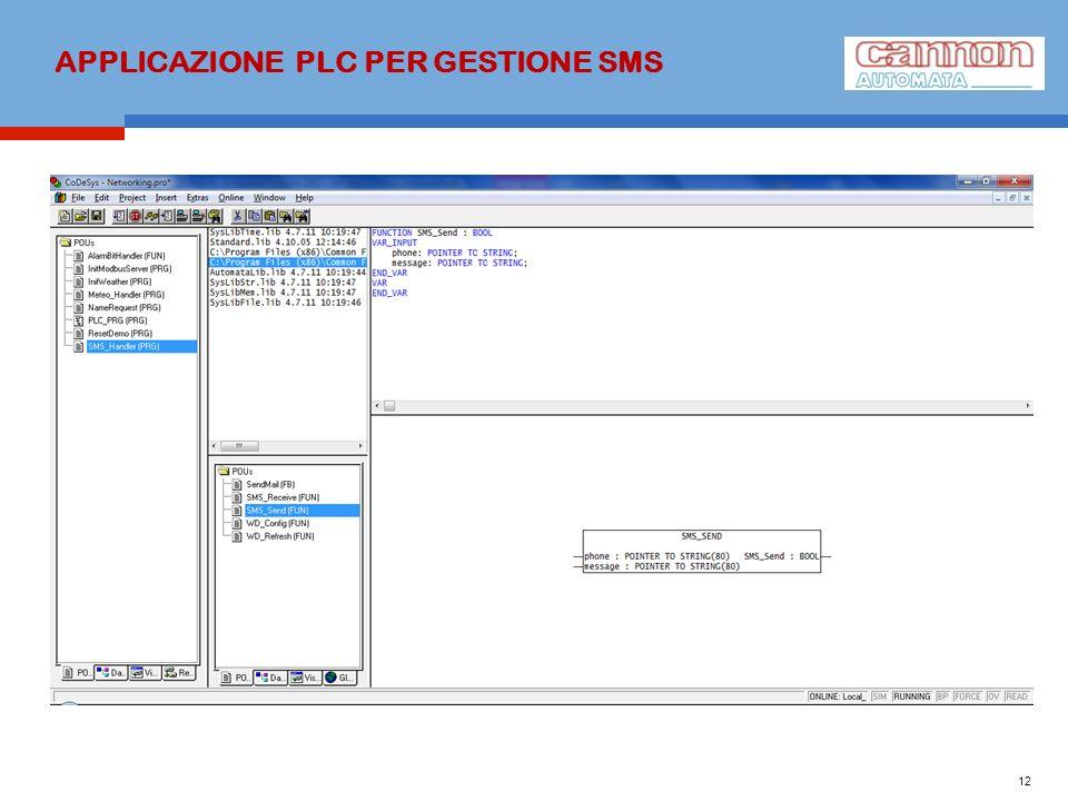 APPLICAZIONE PLC PER GESTIONE SMS 12