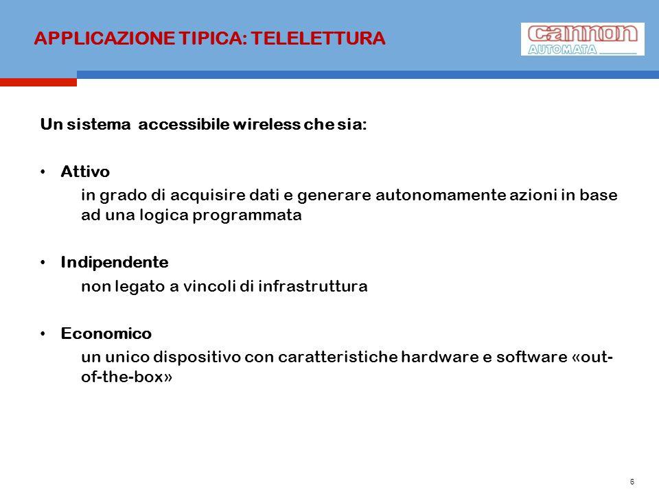 APPLICAZIONE TIPICA: TELELETTURA Un sistema accessibile wireless che sia: Attivo in grado di acquisire dati e generare autonomamente azioni in base ad