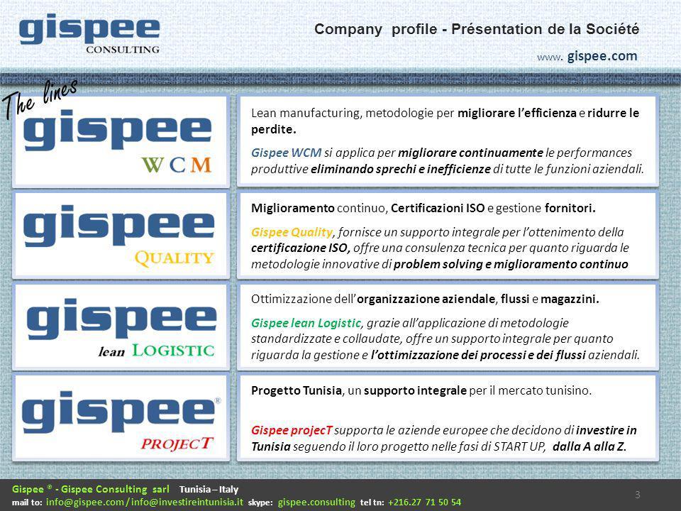 Gispee consulting, suddivisa nella 4 diverse linee di business, è strutturata per dare al cliente un servizio professionale e veloce a 360° supportando tutte le attività di START UP in Tunisia e il relativo FOLLOW UP, comprese le attività di ottimizzazione e miglioramento: 4 Gispee ® - Gispee Consulting sarl Tunisia – Italy mail to: info@gispee.com / info@investireintunisia.it skype: gispee.consulting tel tn: +216.27 71 50 54 www.