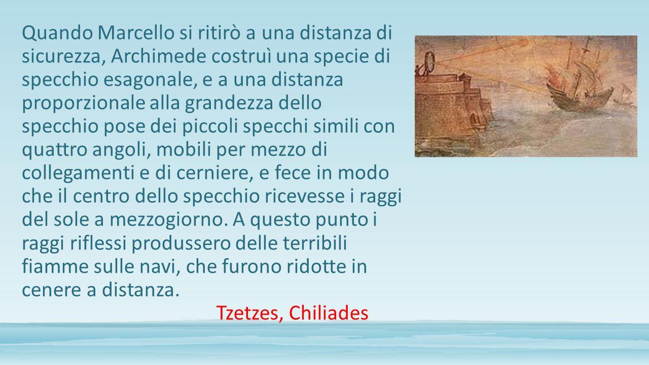 Quando Marcello si ritirò a una distanza di sicurezza, Archimede costruì una specie di specchio esagonale, e a una distanza proporzionale alla grandez