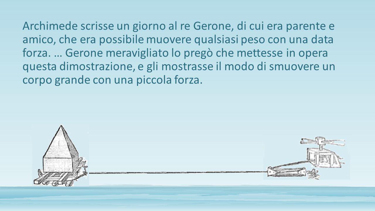 Archimede scrisse un giorno al re Gerone, di cui era parente e amico, che era possibile muovere qualsiasi peso con una data forza. … Gerone meraviglia