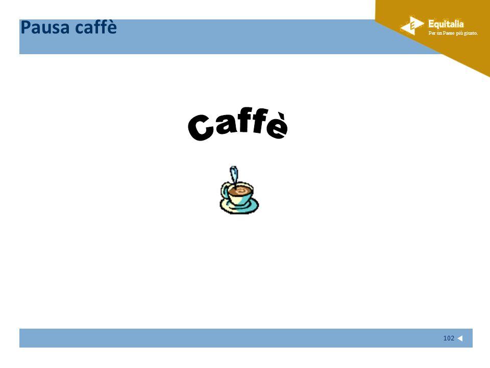 Fare clic per modificare lo stile del sottotitolo dello schema Per un Paese più giusto. 102 Pausa caffè