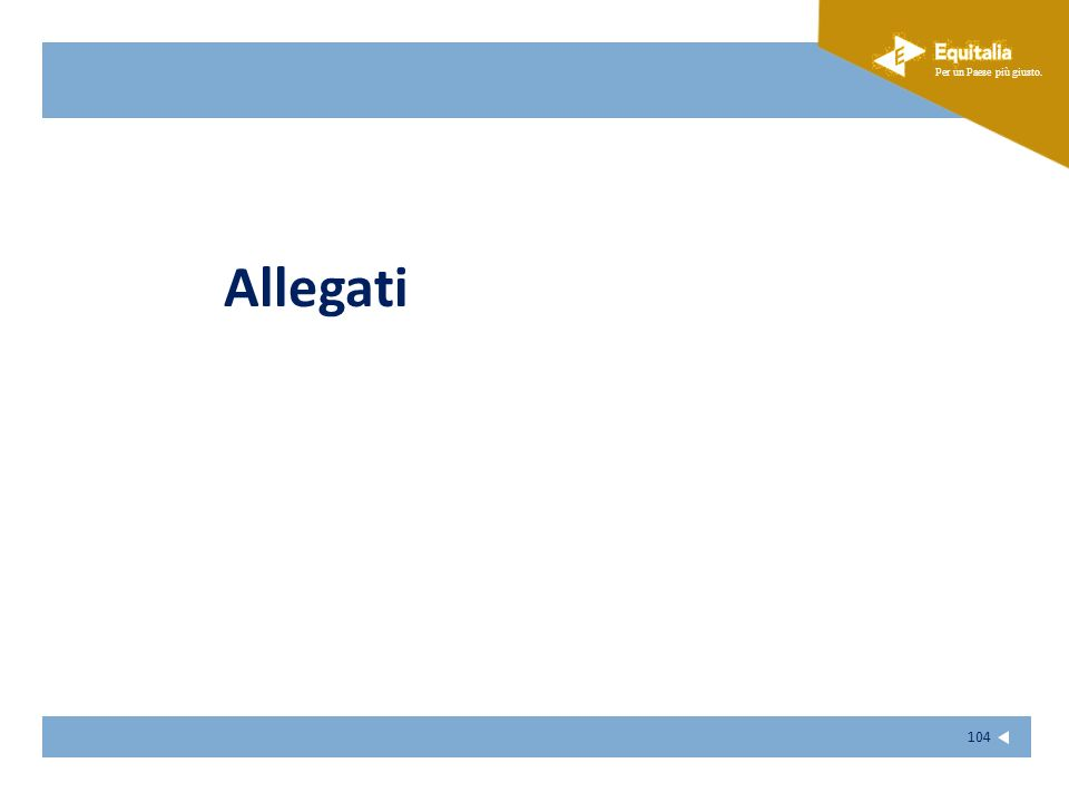 Fare clic per modificare lo stile del sottotitolo dello schema Per un Paese più giusto. 104 Allegati
