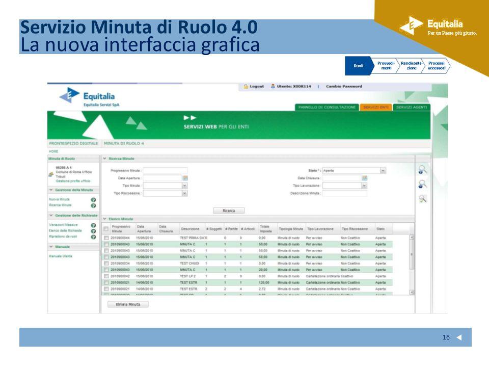 Fare clic per modificare lo stile del sottotitolo dello schema Per un Paese più giusto. 16 Servizio Minuta di Ruolo 4.0 La nuova interfaccia grafica