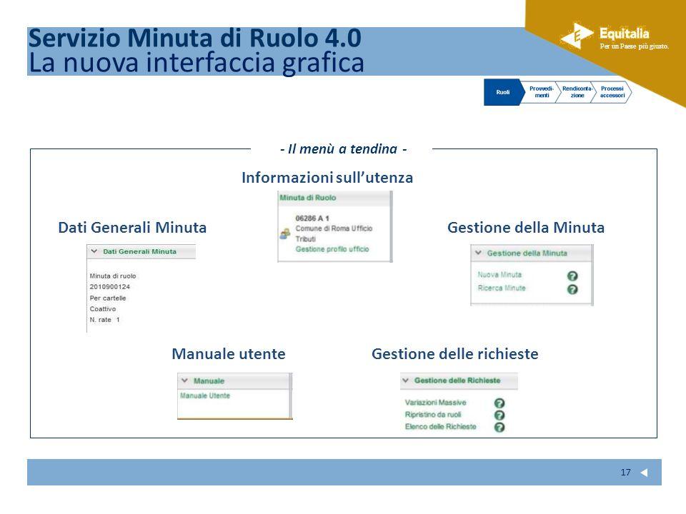Fare clic per modificare lo stile del sottotitolo dello schema Per un Paese più giusto. 17 Informazioni sullutenza Gestione della Minuta Gestione dell