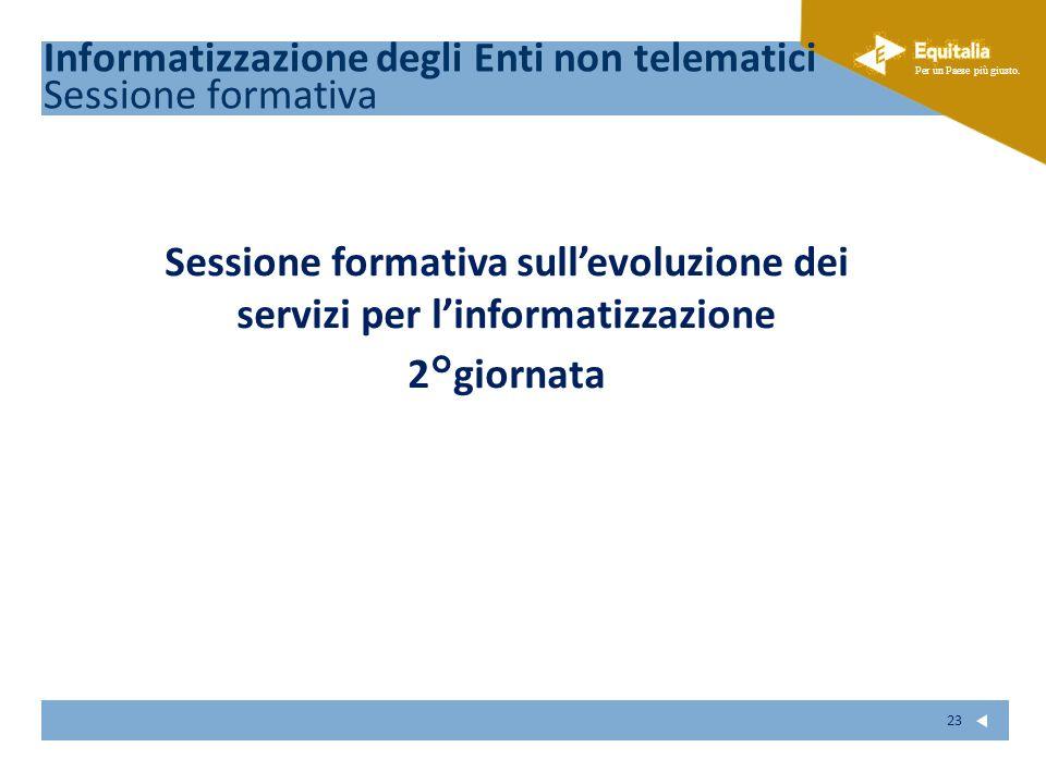 Fare clic per modificare lo stile del sottotitolo dello schema Per un Paese più giusto. 23 Sessione formativa sullevoluzione dei servizi per linformat