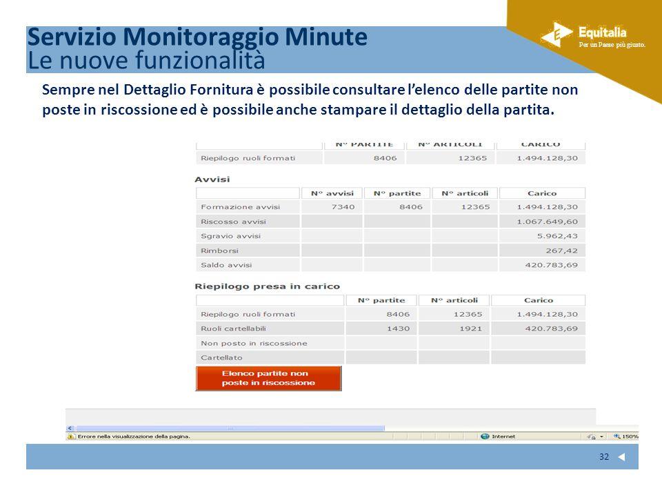 Fare clic per modificare lo stile del sottotitolo dello schema Per un Paese più giusto. 32 Servizio Monitoraggio Minute Le nuove funzionalità Sempre n