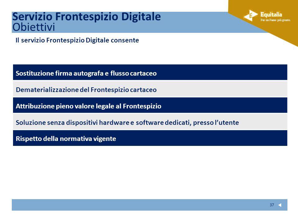 Fare clic per modificare lo stile del sottotitolo dello schema Per un Paese più giusto. 37 Servizio Frontespizio Digitale Obiettivi Sostituzione firma
