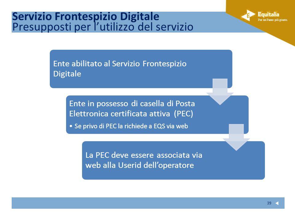Fare clic per modificare lo stile del sottotitolo dello schema Per un Paese più giusto. 39 Ente abilitato al Servizio Frontespizio Digitale Ente in po