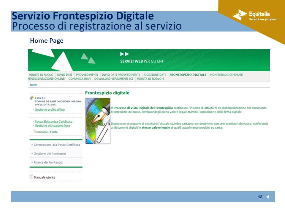 Fare clic per modificare lo stile del sottotitolo dello schema Per un Paese più giusto. 48 Home Page Servizio Frontespizio Digitale Processo di regist