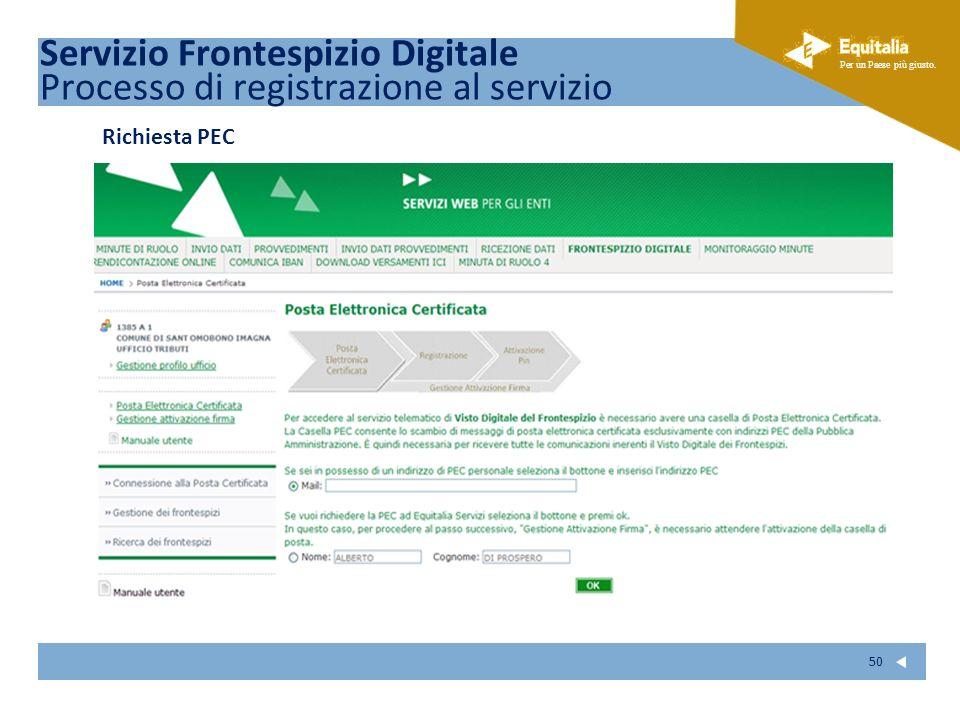 Fare clic per modificare lo stile del sottotitolo dello schema Per un Paese più giusto. 50 Richiesta PEC Servizio Frontespizio Digitale Processo di re