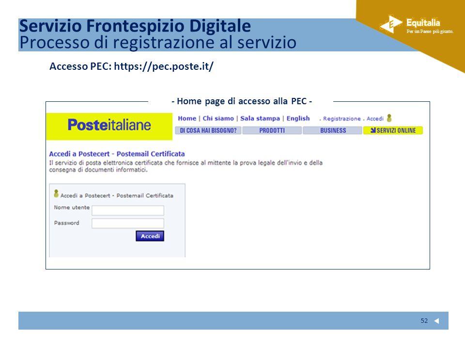 Fare clic per modificare lo stile del sottotitolo dello schema Per un Paese più giusto. 52 Servizio Frontespizio Digitale Processo di registrazione al